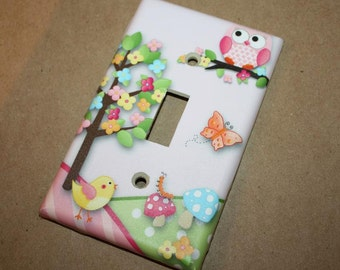 Owls Love Birdies Girls Bedroom Single Light Switch Cover LS0038