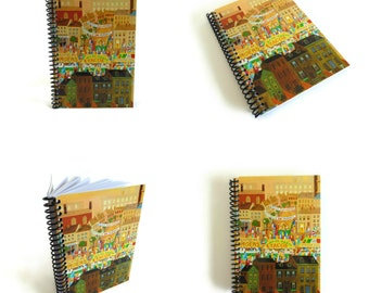 Street Market Notebook A5 Spiral Bound - Diary Writing Journal, Back to School, Blank Sketchbook, 5x7 Inches, Cute, Small, City and Color