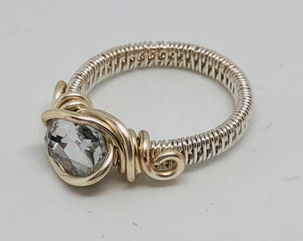 Silver wire wrapped with silver stone ring