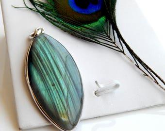 Genuine Labradorite  Pendant,  Natural Luminescent Gemstone pendant, 925 sterling silver, labradorite gemstone, labradorite necklace pendant