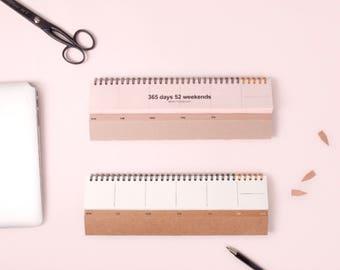 WEEKLY DESK PLANNER | Small Planner | Kraft Weekly Planner | Planner | Korean Planner | Christmas Gift | Korean Stationery | Pink | Undated