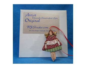 Wooden Folk Art Angel Ornament #17213