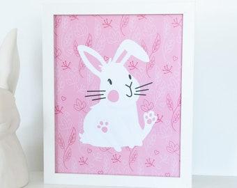 White Bunny Nursery Print, Rabbit Nursery Wall Art, Baby Animal Home Decor, Baby Nursery Decor, Pink Animal Print