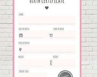 Birth certificate card; baby girl; instant download; nursery