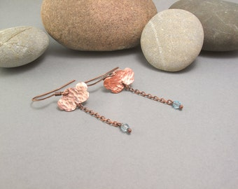 Long and thin rainy clouds copper cloudy rainy day wolke ohrringe earrings delicate earrings
