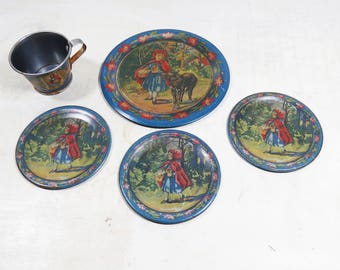 5 Rare Antique Little Red Riding Hood Ohio Art Tin Litho Tea party set 4 plates and 1 cup 1920's Fairy tale