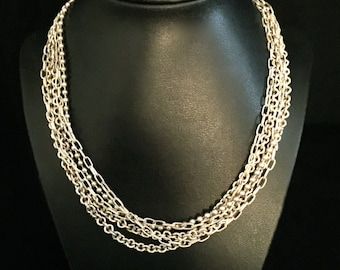 Vintage Silver Multi Chain with Tassel Toggle Clasp              VG1741