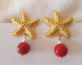 Starfish earrings with coral and pearl