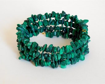 Malachite Coil Wrap Bracelet (Item W59)