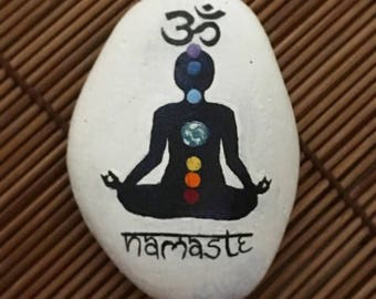 The 7 chakras yoga painted rock