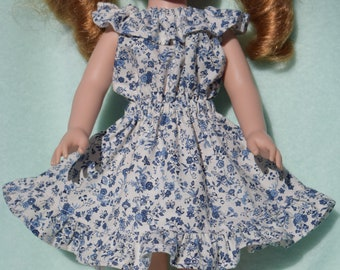 Pretty off white peasant style dress in a blue flower print fits 14.5 inch dolls