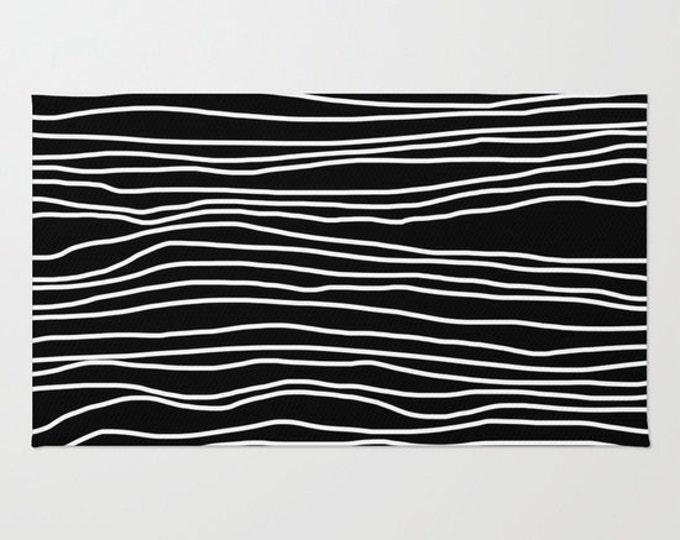 Black and White Striped Rug - Room Rug - Throw Rug - Bathroom Decor - Made to Order