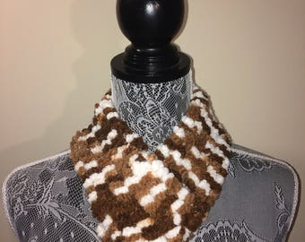 Brown and White Neck Warmer