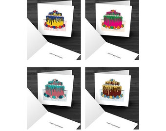 Pack of 4 Birthday Cake Cards
