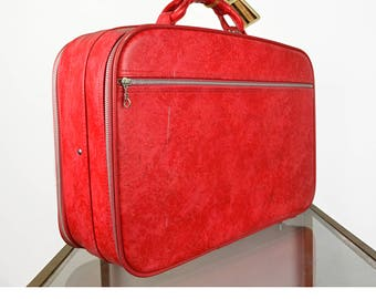Vintage 1960s Samsonite Classic Retro Red Leather Travel Luggage Suitcase Bag