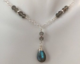 Labradorite and Sterling Silver Necklace Labradorite Necklace Labradorite Jewelry Sterling Silver Necklace Silver Jewelry Gemstone Necklace