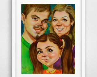 Custom Caricature Gift Hand Painted Art from photo personalized portrait character acrylic painting made to order. NOTE: Price is per person