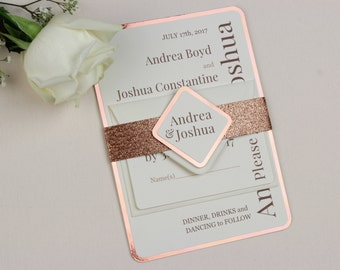 Copper Metallic Wedding Invitation • In a set with RSVP/Response card and Gold Glitter Belly Band • Fusion of copper and amber colours