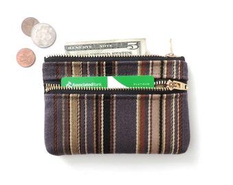 Stripe Wallet Coin Purse Double Zipper Pouch Wool