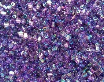 10/0 MATSUNO HEXAGON 2 Cuts Transparent Amethyst Rainbow seed beads Vintage Japanese Beads 10/50/100/450 Grams