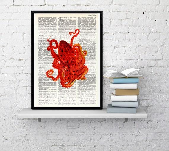 Octopus art print on Book Orange Octopus, wall art decor seaside art, Octopus wall decor, Octopus Poster print, Beach  SEA004
