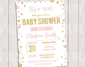 Pink and Gold Baby Shower Invitation, Polka dot Invitation, Girl Baby Shower, Gold Glitter invitation, Printable invite