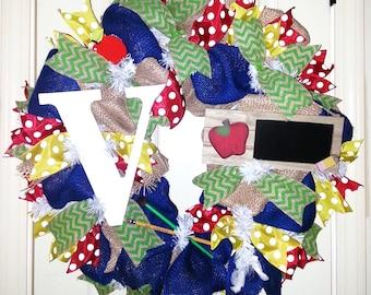 Teacher wreath, monogram teacher wreath, burlap teacher wreath, welcome to class wreath, personalized wreath, classroom decoration