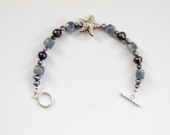 Starfish, Pearl and Iolite Bracelet