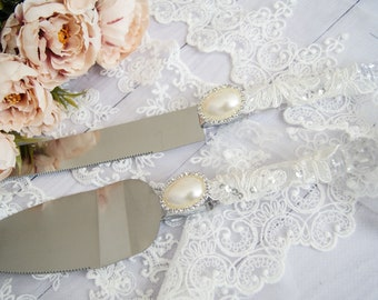 Lace Wedding Cake server and knife set Cake cutting set Rustic cake cutter Set of 2