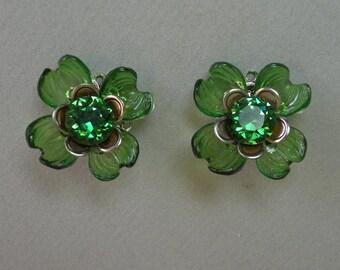 Olive Flower Earrings