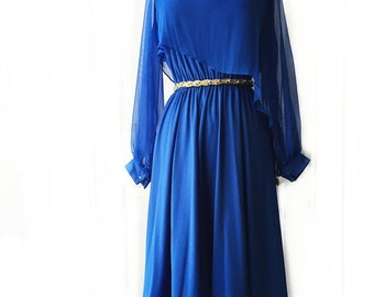 Vintage 70s royal blue chiffon dress/ asymmetric chiffon overlay/ long sheer sleeves/ V-neck cocktail dress/ cobalt prom party gown