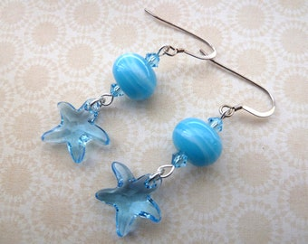 sterling silver blue star fish lampwork earrings, UK handmade jewellery
