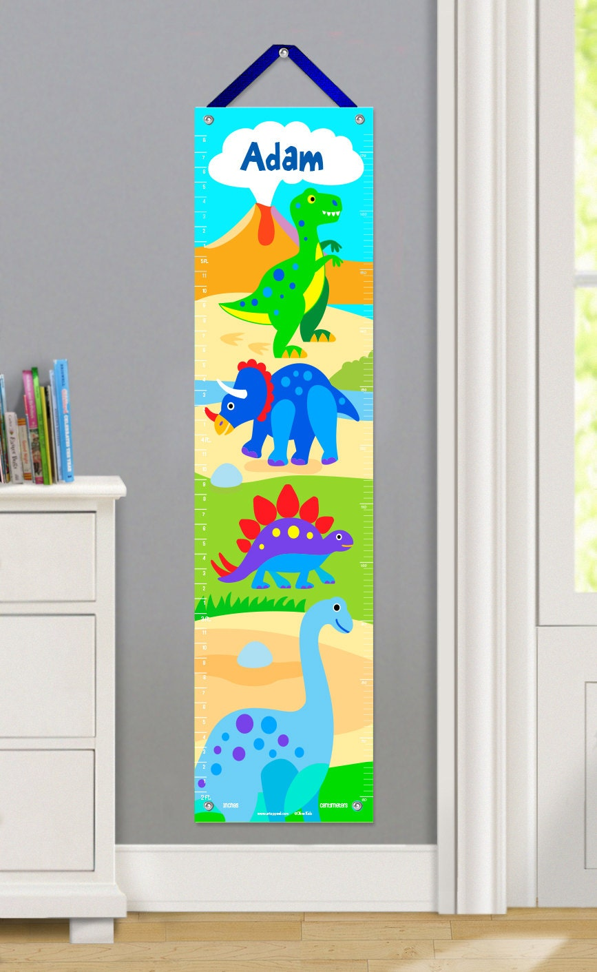 Kids personalized dinosaur canvas growth chart kids t rex zoom nvjuhfo Gallery