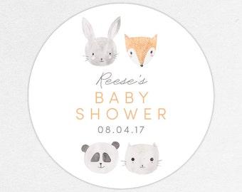 Woodlands Favor Tag, Woodlands Favor Label, Baby Shower Favor Tag, Baby Shower Favor Label, Woodlands Shower, Animal, Fox, Panda, Watercolor