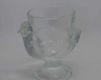 Glass chicken egg cup , vintage french glass ,glass hen  various colours