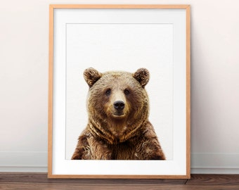 Bear Print, Grizzly Bear Wall Art, Woodland Animals, Animal Art, Forest Animal, Nursery Decor, Nursery Art, Kids Room Prints, Printable Art