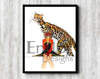 Dramatic Black and Red Girl with Ocelot Guardian Original Copic Marker Pen & Ink Fine Art Print