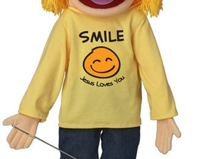 """New 25"""" Puppet Girl w/ """"Smile Jesus Loves You"""" Shirt - Full Body Professional Puppet for Puppet Ministry & Church"""