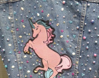 Unicorn patched denim jacket pearls and crystals 2018