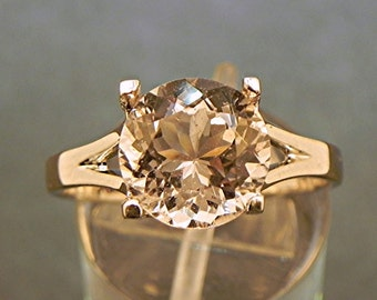 AAA Pink Morganite Round   10mm  3.71 Carats   in 14K Rose gold ring. 1833 y