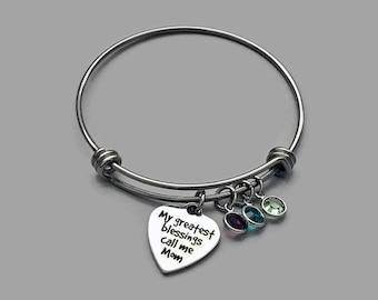 Mom Charm Bracelet, Mom Bracelet, Mother Charm Bracelet, My Greatest Blessings, Mothers Day Jewelry, Stainless Steel Bangle, Birthstone