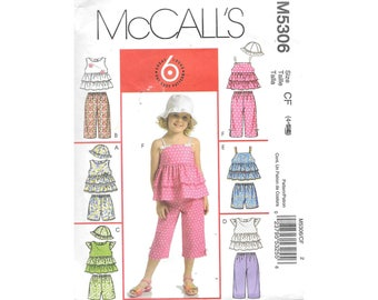 Toddler Girls Sleeveless Ruffle Top Shorts Capris Pants Hat Sz 4 Sewing Pattern McCalls M5306