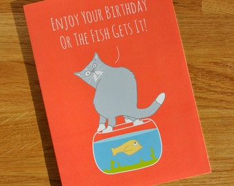 Animal Cat Card - Designed and Printed in the UK - Cat Themed Birthday Card