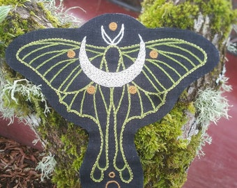 Luna Moth Hand Embroidered Patch