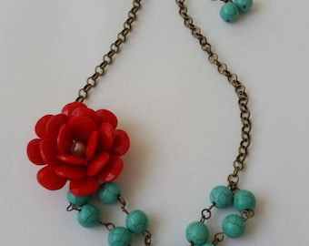 Big Red Flower Necklace, Turquoise Beadwork Necklace, Poppy Necklace, Multi Layer Necklace, Red Blue Necklace Earrings Set, Christmas Gift