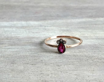Deco Engagement Ring, 14 K Rose Gold Ring with Ruby Stones, Gold Ring, Ruby Ring