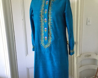 Vintage Delhiwala Ethnic Raw Silk Saffron Blue Embroidered Lord & Taylor 1960s