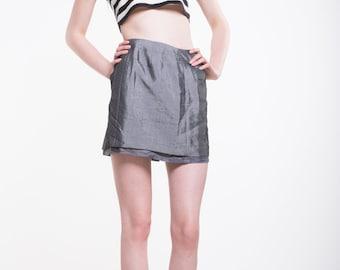 VINTAGE Grey High Waist Retro Mini Skirt