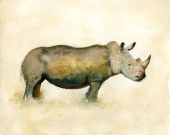 Rhino, Painting, Original Watercolor painting 10x8inch