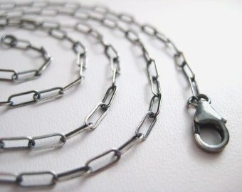 Flat Oval Link Chain... Shiny or Oxidized Sterling Silver ... Add a Pendant